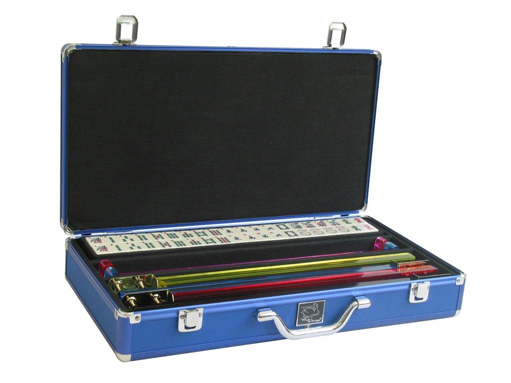 White Swan Mah Jongg Set - 166 Premium Ivory Tiles, Pusher Arms, Aluminum Case - Blue Mahjong