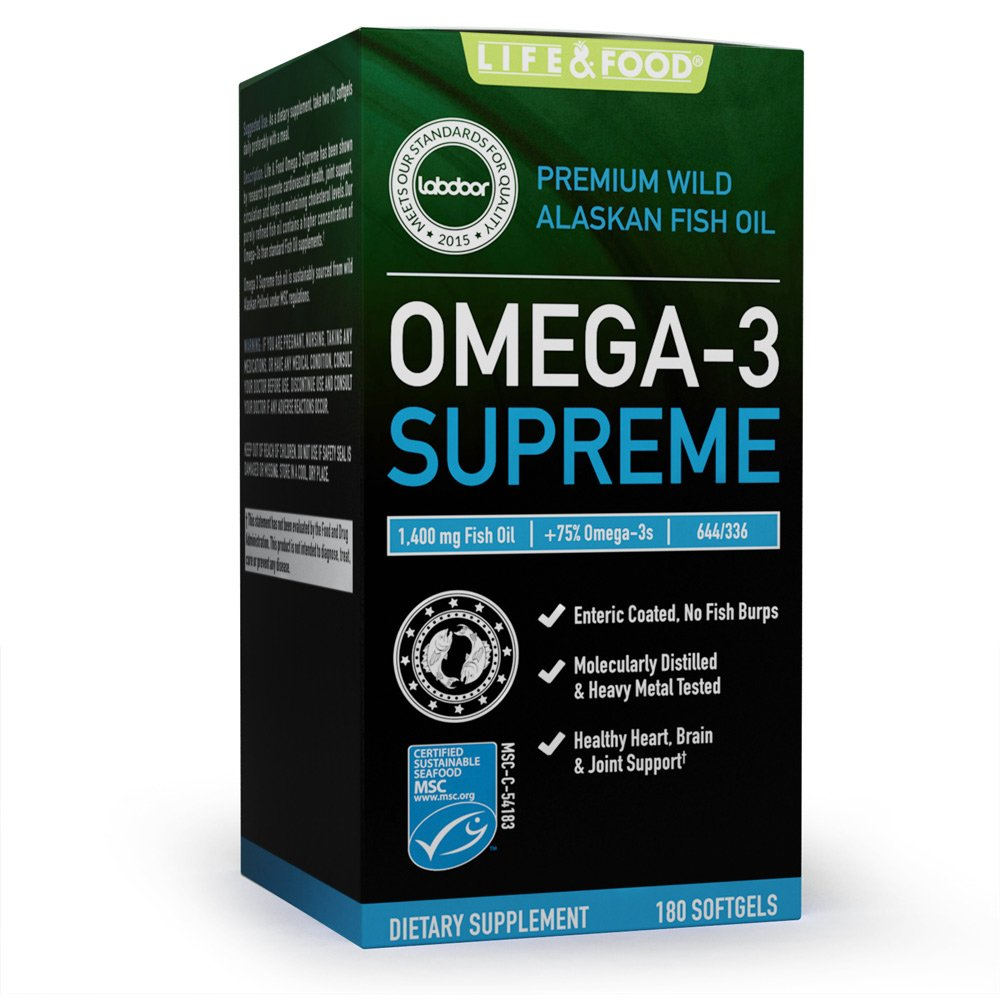 Omega 3 Supreme Strength 1400 mg - High EPA DHA Fish Oil (3 MO. SUPPLY*) 180 Burpless Softgels, MSC Certified & 3rd Party Tested - Improved Absorption by Life & Food (Image #9)