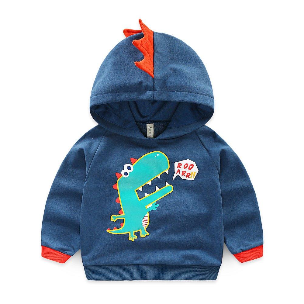 KIMJUN Toddler Baby Boys Pullover Sweater Kids Hoodie Tops Dinosaur Hooded Sweatshirt