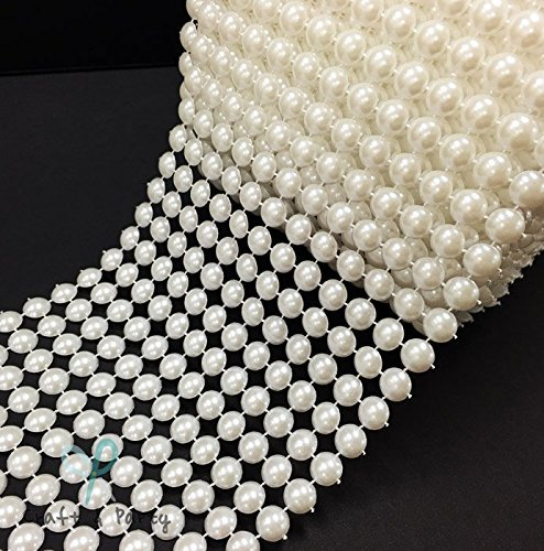 Party WHITE Pearl Mesh Rhinestone Ribbon Wrap for Wedding and Events Decoration 4.5 X 10 Yards 30 Feet 8MM