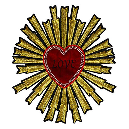 Embroidery Heart Large Patch Handmade Sequin Patches for Clothing DIY Sew on Rhinestone Beaded Patch Embroidery Flowers parche ropa 1piece
