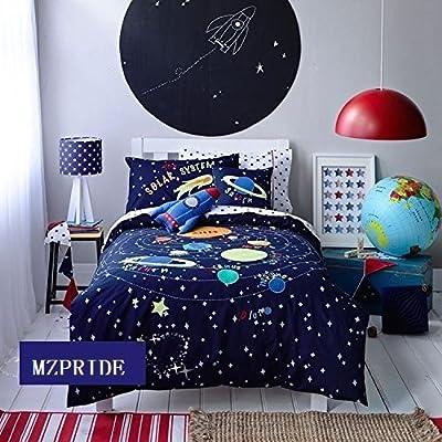 c6bcb76d6d95ff Amazon.com: MZPRIDE Cute Cartoon Solar System Bedding Set Stars Bed Sheet  Sets Full: Home & Kitchen