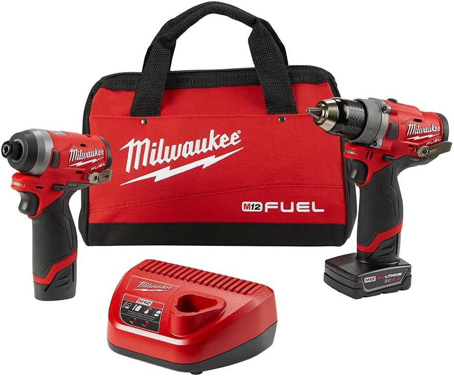 Milwaukee Electric Tools 2596-22 M12 Fuel 2Pc Kit – 1 2 Drill 1 4 Hex Impact