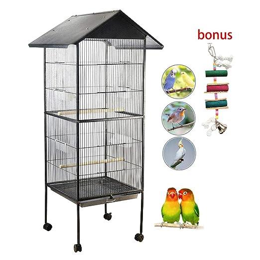 IKAYAA Jaula de Metal para Pájaro Negro Mascotas 52 * 52 * 160 cm ...
