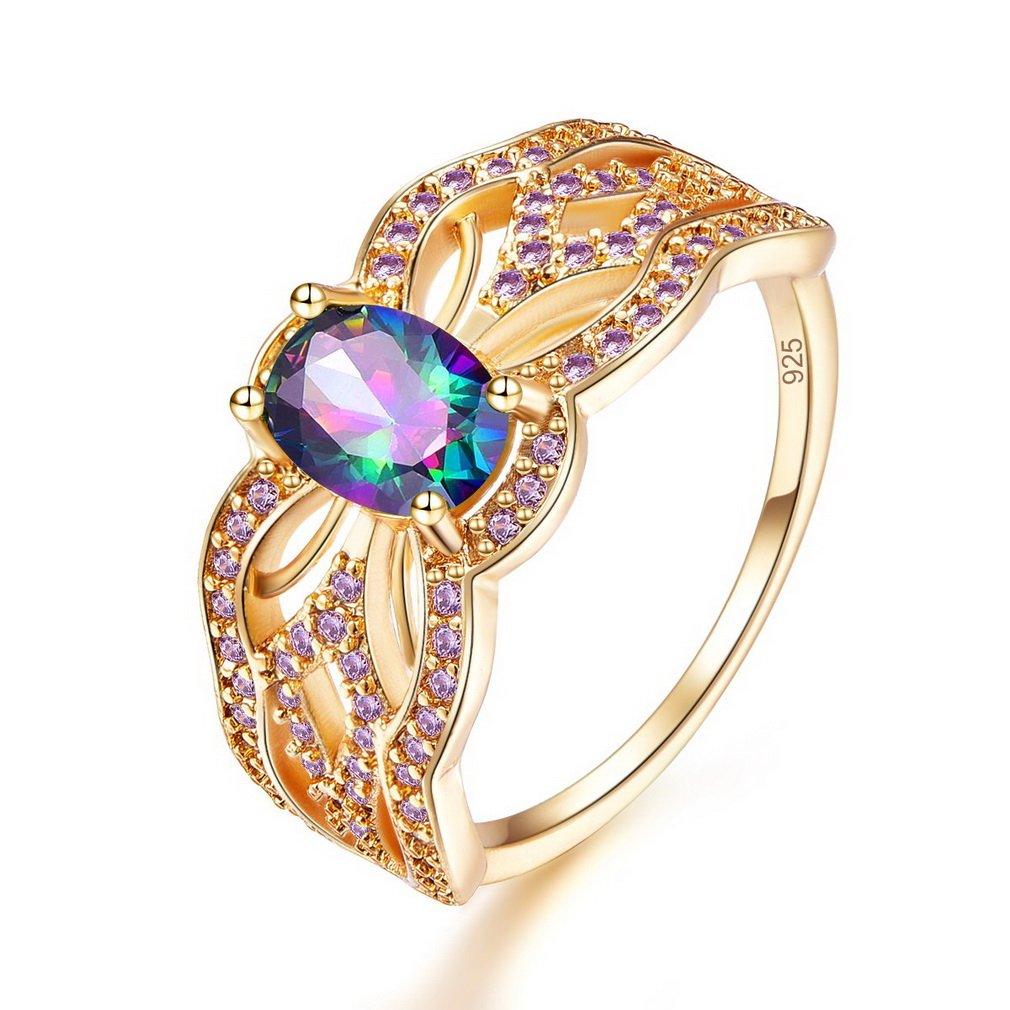 YAZILIND ovale zircone anneaux jolie strass plaqué or pour les femmes YAZILIND JEWELRY LIMITE ZH1058R5145