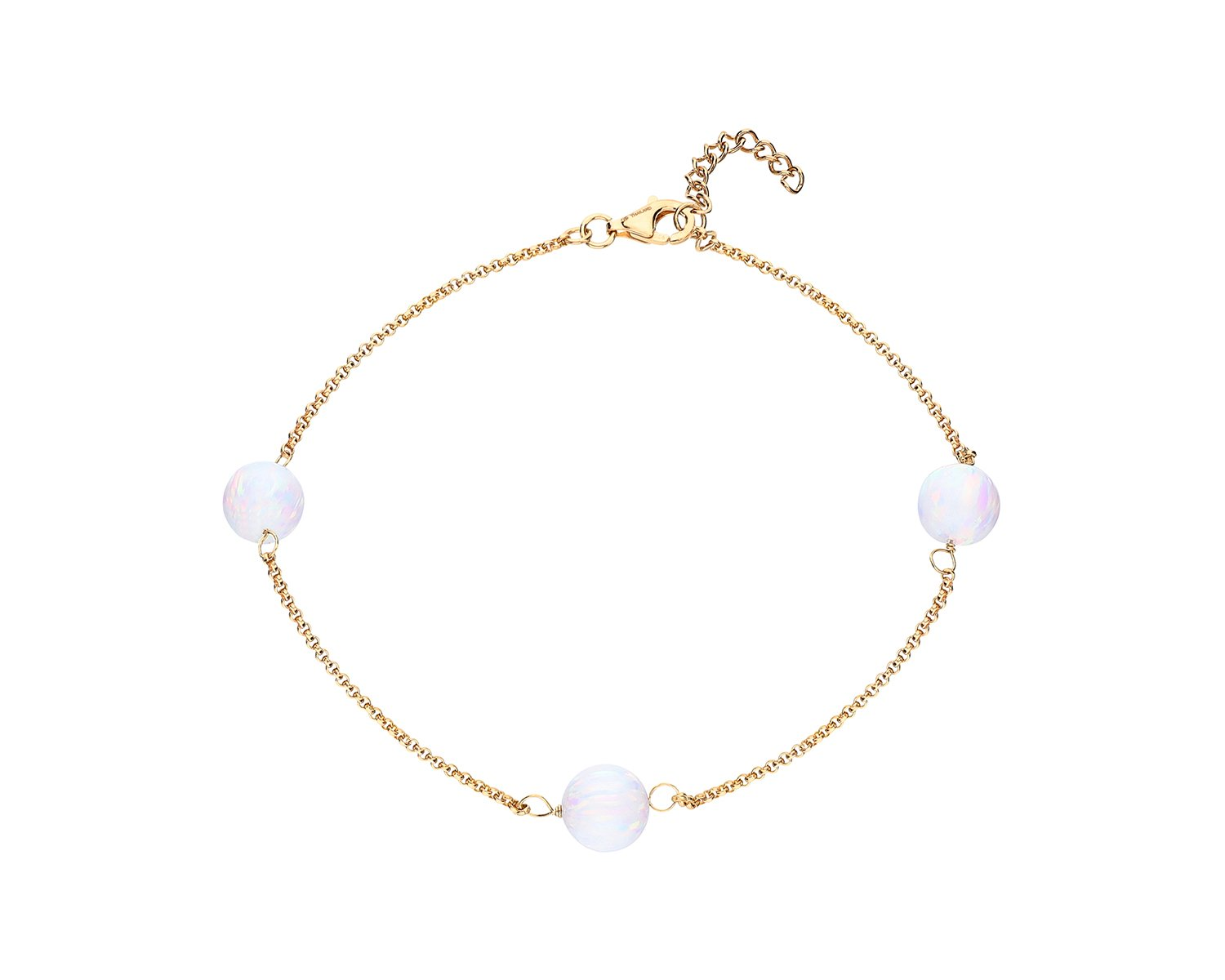 Gold Plated Sterling Silver Graduated Opal Chain Anklet