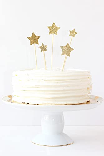 Amazoncom Gold Glitter Star Cake Toppers Wedding Cake Decorations