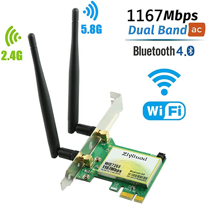 Ziyituod WiFi Card, Wireless AC 1200Mbps Bluetooth Adapter, PCI Express (PCIe) WiFi Network Card Dual Band (2.4GHz 300Mbps or 5GHz 867Mbps) PCI-e Card ...
