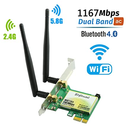 Tarjeta WiFi Ziyituod, adaptador Bluetooth inalámbrico AC ...