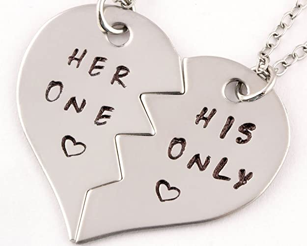Amazon 2 piece her one his only heart necklace set couples 2 piece her one his only heart necklace set couples jewelry boyfriend girlfriend gift mozeypictures Image collections