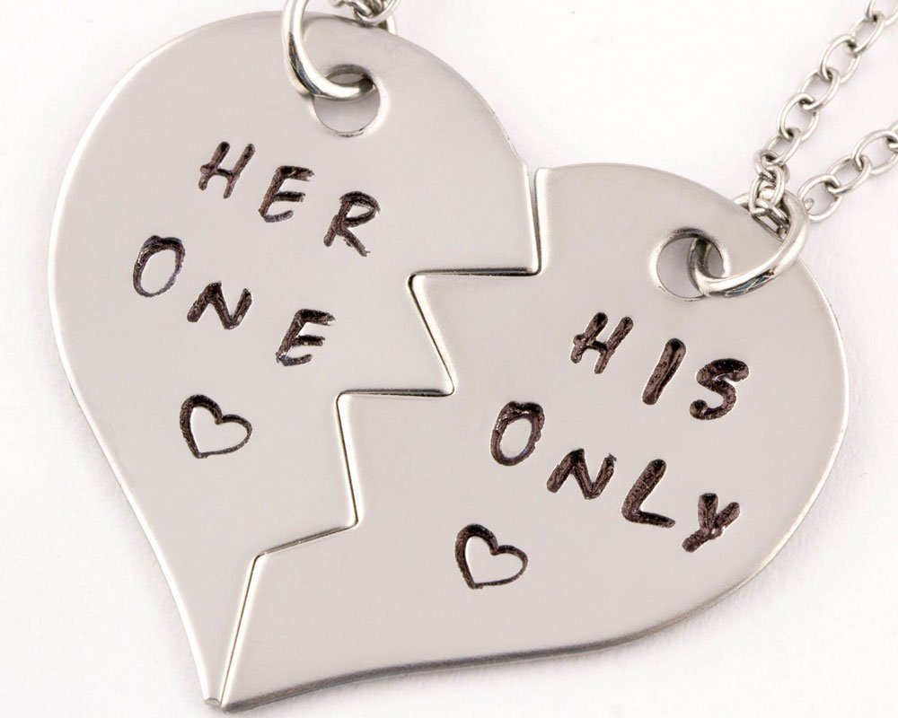 e982a2fbf2 Galleon - 2 Piece Her One His Only Heart Necklace Set   Couples Jewelry    Boyfriend Girlfriend Gift   Stainless Steel