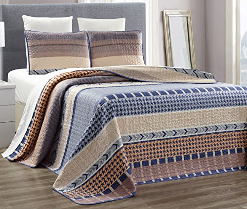 3-Piece Fine printed 100% COTTON Abstract Quilt Set Reversible Bedspread Coverlet FULL / QUEEN SIZE Bed Cover (Blue, Beige, Taupe)