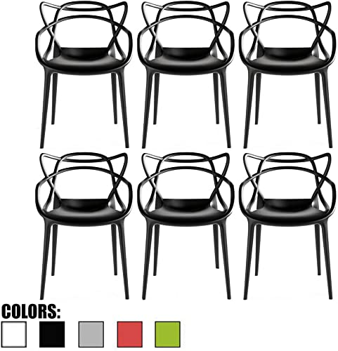 2xhome – Set of 6 Black Dining Room Chairs – Modern Contemporary Designer Designed Popular Home Office Work Indoor Outdoor Armchair Living Family Room Kitchen