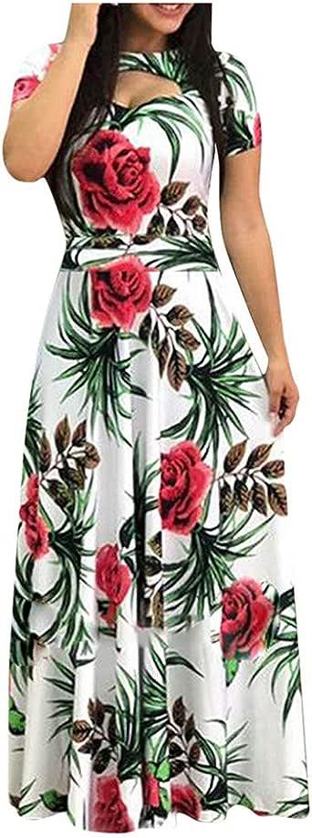 Wtouhe 2020 - Vestido Largo para Mujer, Bohemio, Estampado de ...