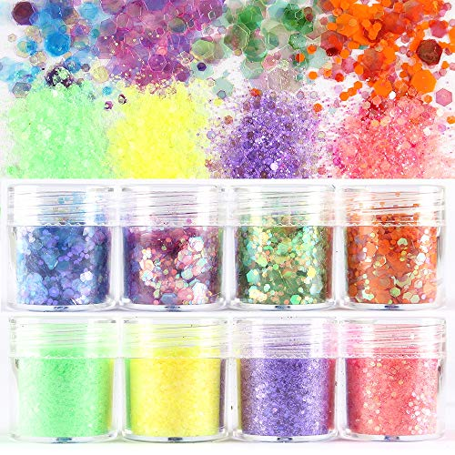8 Boxes Colorful Nail Shining light Dazzling Hexagon Sequins Ultra-thin Nail Glitter Sequins Iridescent Flakes Sparkles for Face Body Hair Nail (Color1)