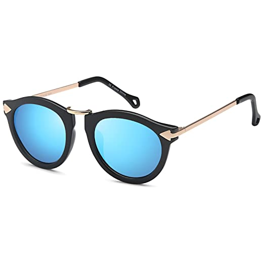 43c0388b22 CATWALK Womens UV400 Round Cat Eye Sunglasses – Mirror Blue Lens on Black  Gold Frame