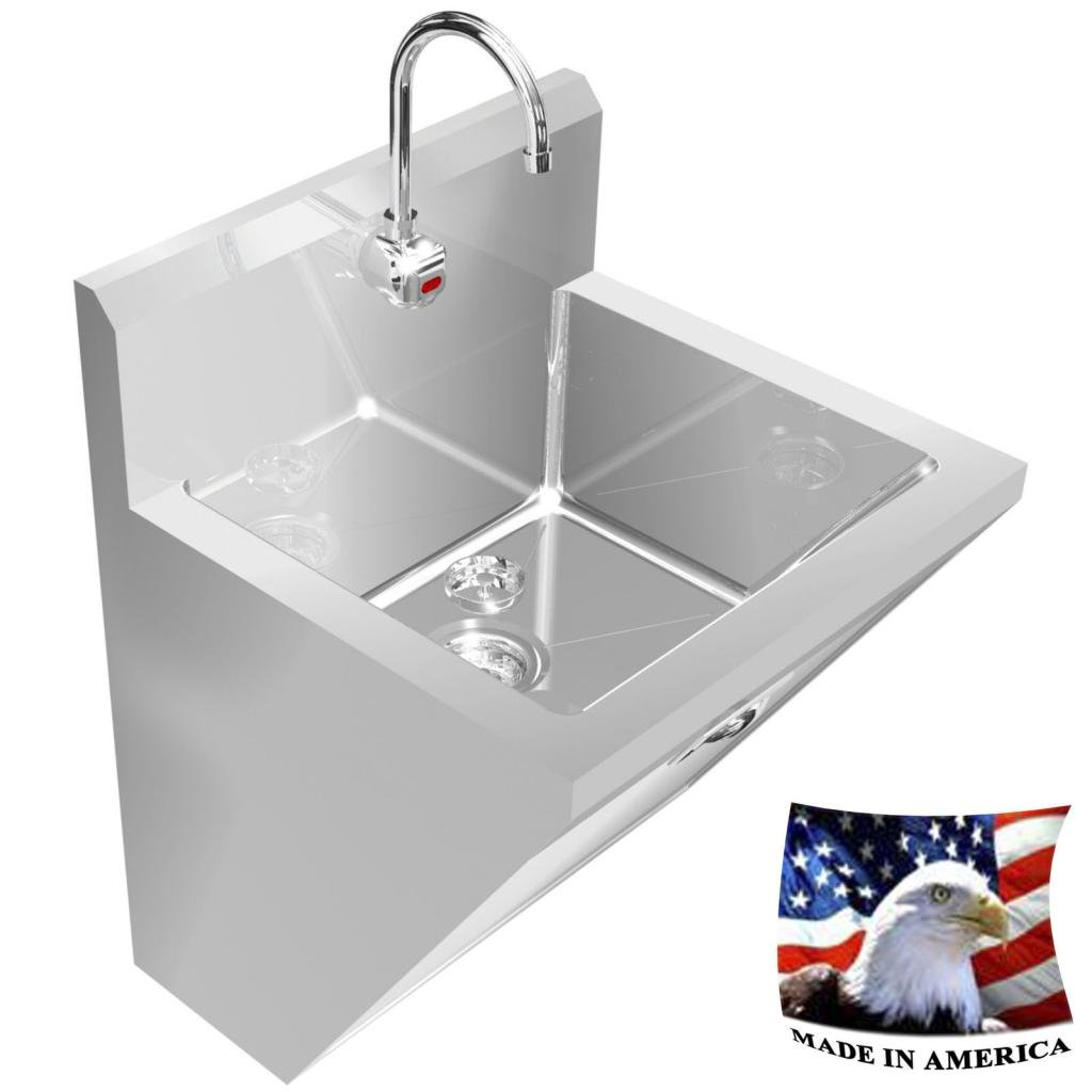 SURGEON'S HAND SINK 1 STATION 24'' STAINLESS STEEL 304 HANDS FREE MADE IN AMERICA by BSM