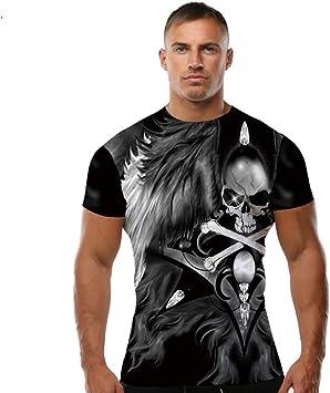 ZCYTIM Marca Skull T Shirt Alas Camisetas Camisetas graciosas Ropa 3D Ocio Camiseta Camisetas Hombres 3D Top tee Slim Homme: Amazon.es: Deportes y aire libre