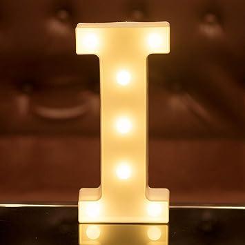 Focux LED Letter Lights Alphabet Light Up Sign for Night Light Home Party Birthday Wedding Bar Decoration (I)