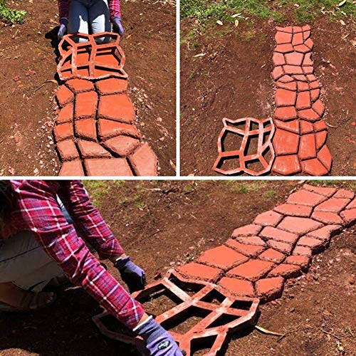 VARWANEO Stepping Stone Molds 2pack Reusable Concrete Path Maker Molds Stone Walk Maker for Garden Walkway 13 x 13 inch DIY Path Mold Maker