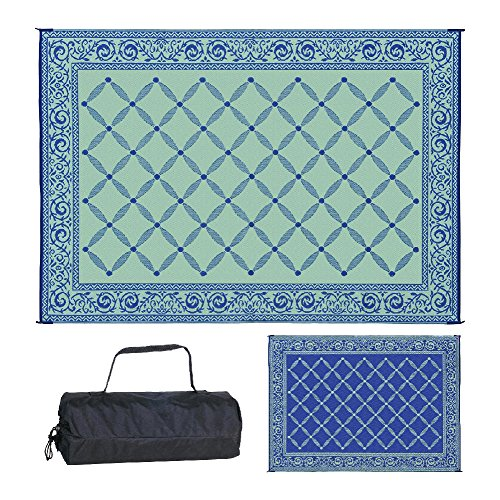 Reversible Mats 119123 Outdoor Patio 9-Feet x 12-Feet, Blue/light-Green RV Camping Mat (Green Bamboo Rug)