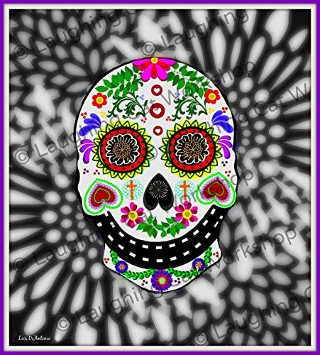 Mexican sugar skull art print fiesta decor Dorm Room Decor Hipster skull art Cinco de Mayo decor Skull Folk Art Sugar art Whimsical tattoo skull art Halloween -