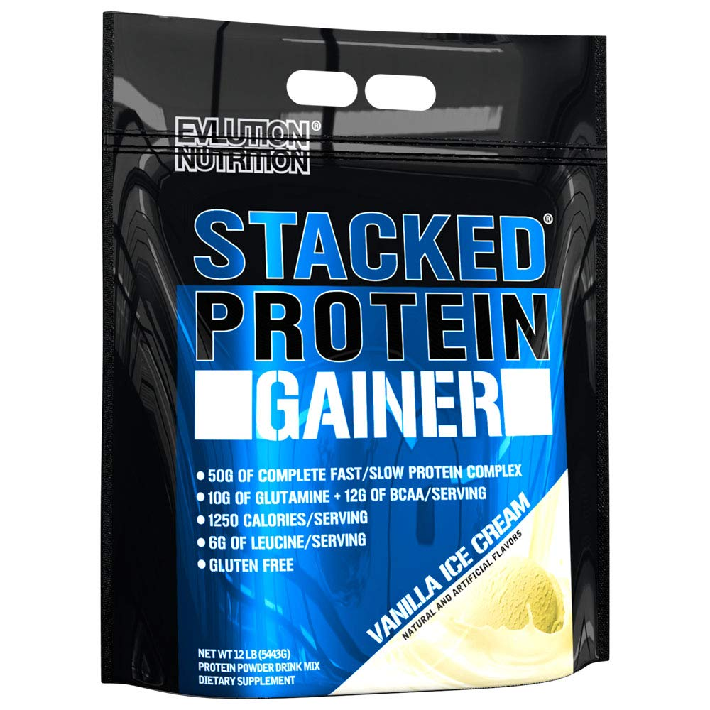 Evlution Nutrition Stacked Protein Gainer 12 LB Protein Powder with 50 Grams of Protein, 12 Grams of BCAAs and 10 Grams of Glutamine, Vanilla Ice Cream
