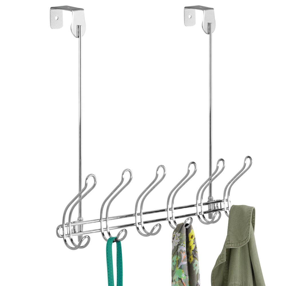 Clothes or Towels Hats Organizer Hooks for Coats 6 Dual Hooks Robes Chrome 07230 InterDesign Classico Wall Mount//Over Door Storage Rack