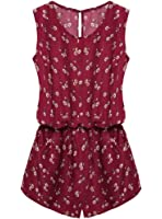OURS Women Round Neck Sleeveless Cut Out Back Pockets Casual Romper Jumpsuit
