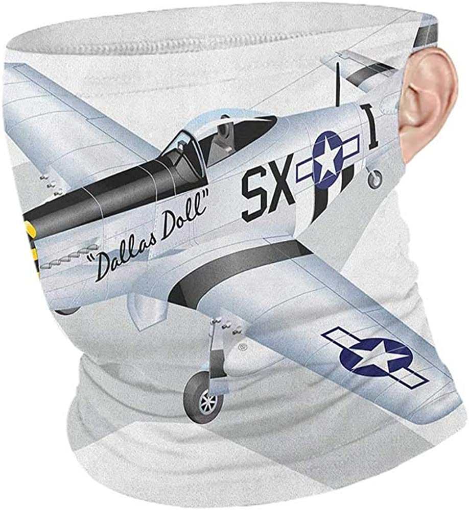 Hair Scarf Cooling Vintage Airplane P 51 Dallas Doll Detailed Illustration American Air Force Classic Plane,Fishing Neck Gaiter Sun Protection Multicolor 10 x 12 Inch
