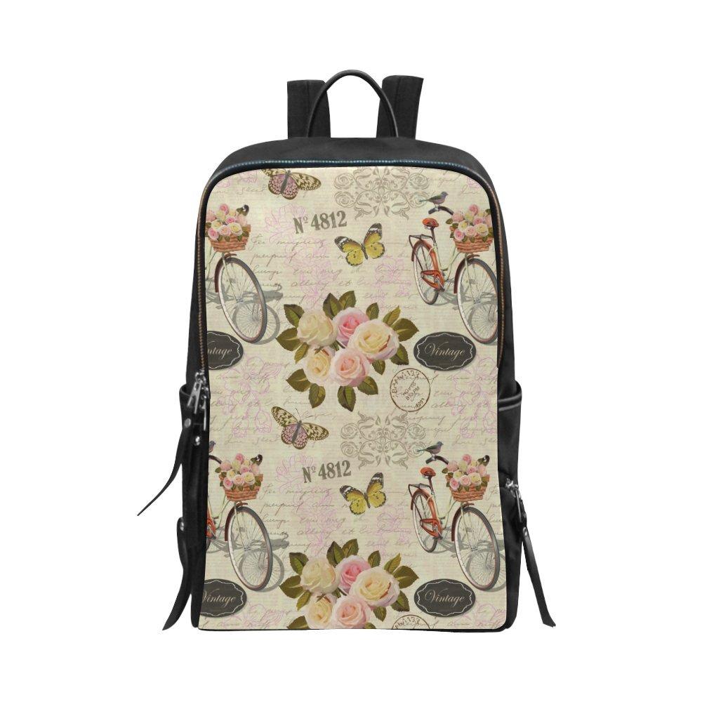 d099691cea Amazon.com  InterestPrint Floral Pattern with Pink Roses on Vintage  Postcard Unisex School Bag Casual Shoulders Backpack Travel Daypack 15 Inch  Laptop Bag  ...