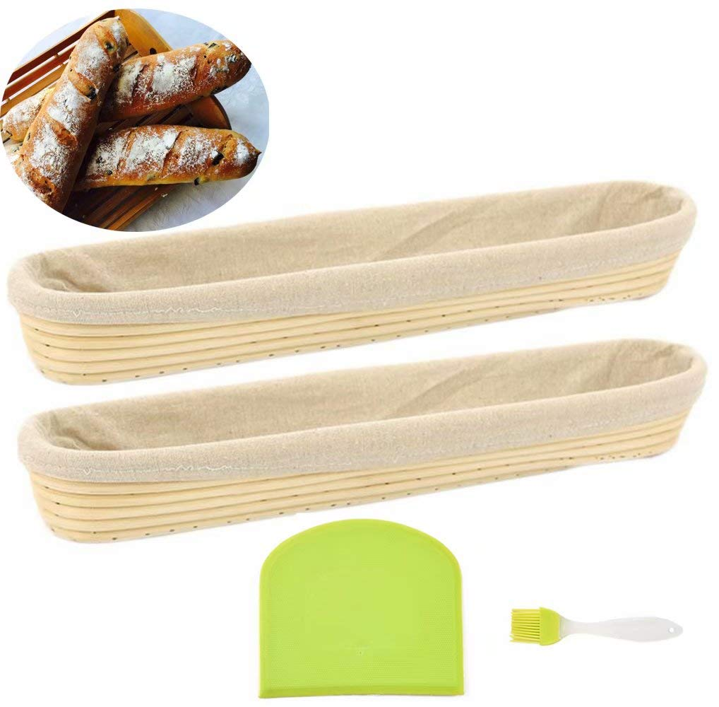22 inches Baguette Banneton Bread Proofing Basket and Linen Liner Set 2 Pack by OBeauty