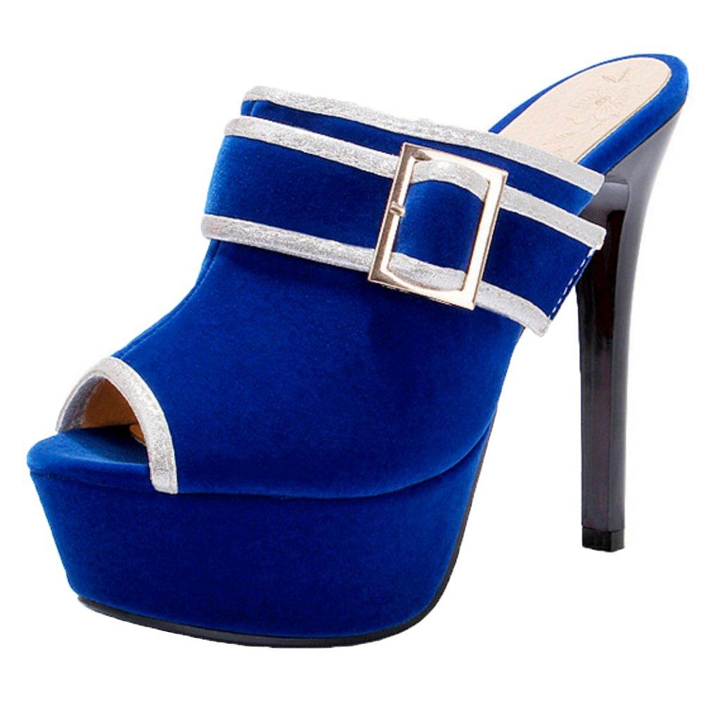 FANIMILA Women Stiletto Fashion Mules B07D8M5NGC 5 US = 23 CM|Blue