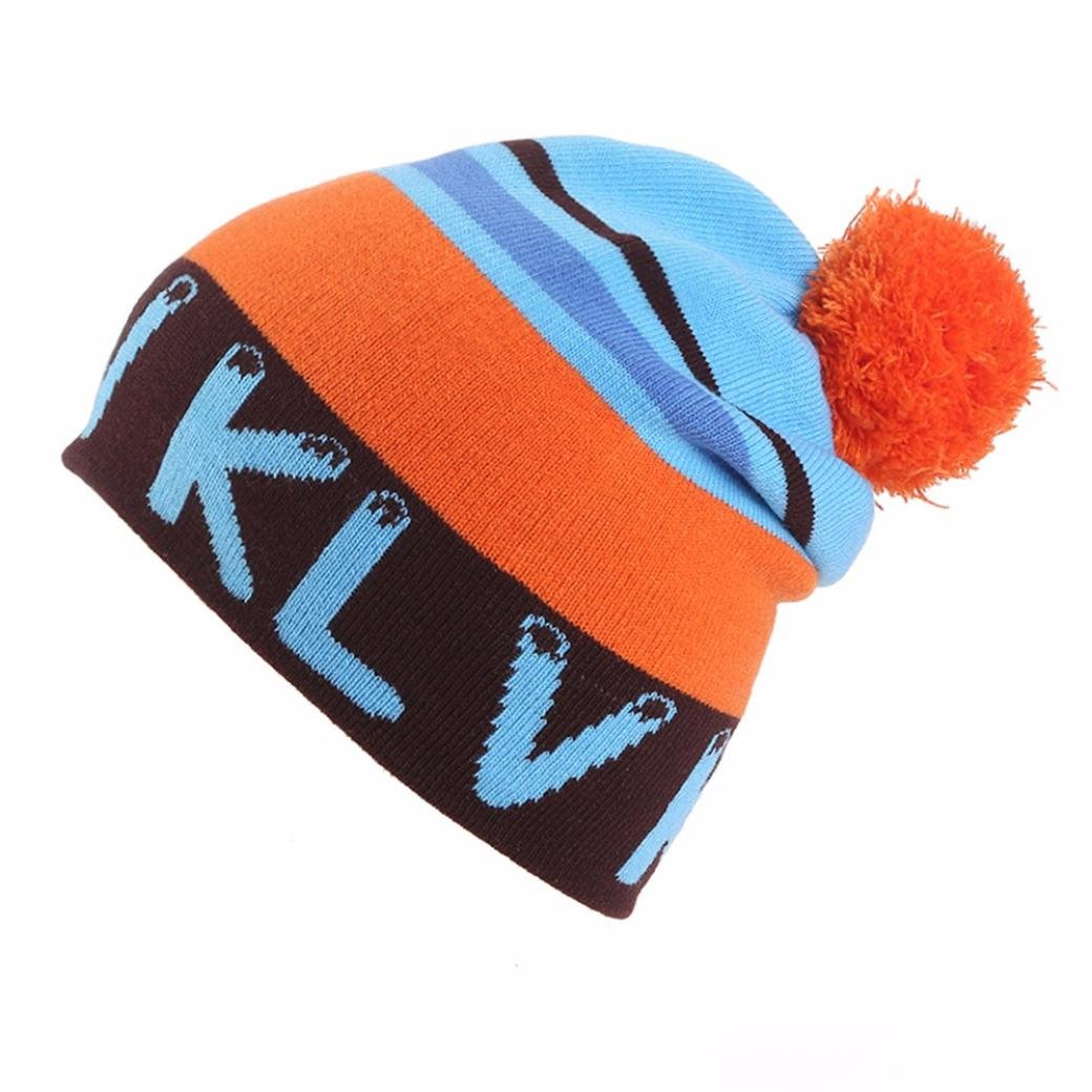 Brand Unisex Women's Men Winter Warm Fur Knit Bobble Pom Pom Beanie Bobble Baggy Crochet Ski Cap Hat By Quistal Blue) YS0919029