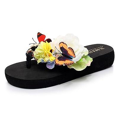 1626c2949b07 Fashion Slippers Women Flip Flops Summer Home Platform Bohemian Beach Shoes  Tree Black 6