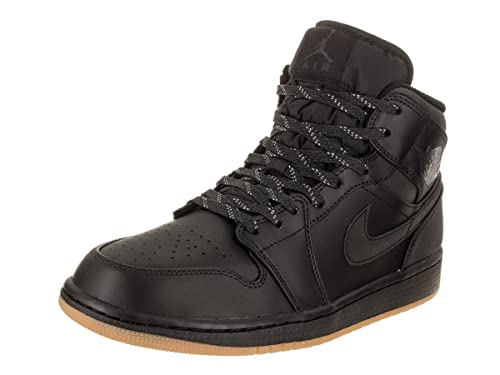 623df6b7f42f Jordan Nike Men s Air 1 Mid Winterized Black Anthracite Gu8m Yellow  Basketball Shoe