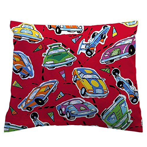 SheetWorld Crib / Toddler Percale Baby Pillow Case - Race Cars Red - Made In - Crib Race Set Bedding Car