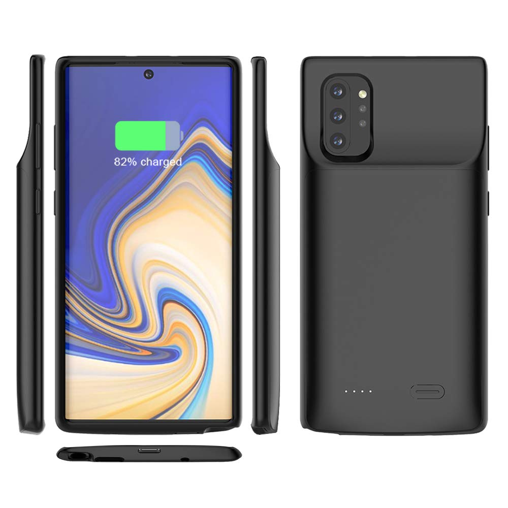 Compatible with Samsung Galaxy Note 10+ Battery Case, 6000mAh Rechargeable External Backup Charger Pack Slim Extended Portable Power Bank Extra Shockproof Protective Cover for Galaxy Note10+ Black by LifeePro