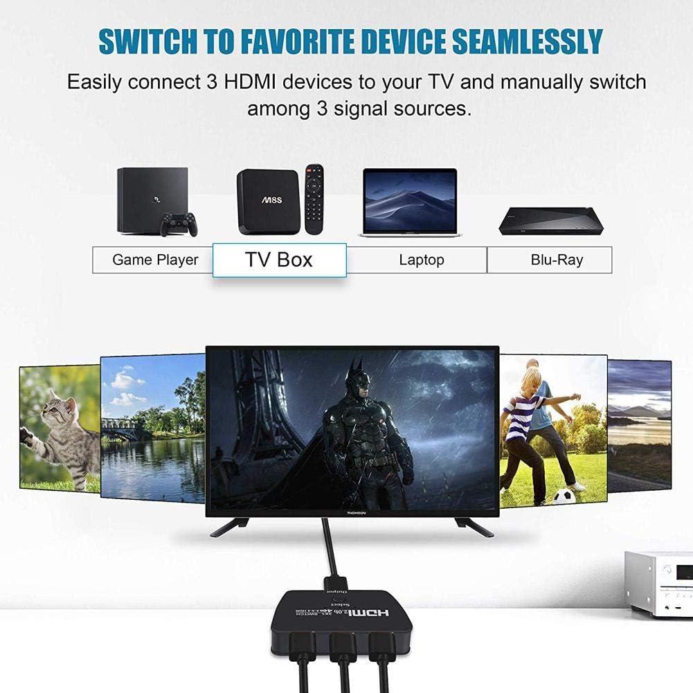 kitabetty Switch HDMI 2.0, Splitter HDMI Switcher de 3 Puertos 4 K @ 60 Hz Splitter HDMI Salida 3 en 1 Switch HDMI KVM HDMI 4 K: Amazon.es: Electrónica
