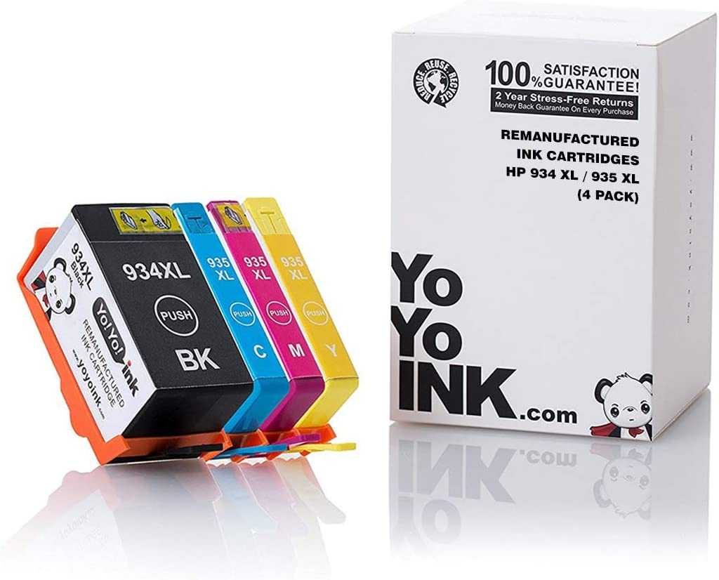 YoYoInk Remanufactured Ink Cartridge Replacement for HP 934XL / 935XL High Yield (1 Black, 1 Cyan, 1 Magenta, 1 Yellow; 4-Pack)