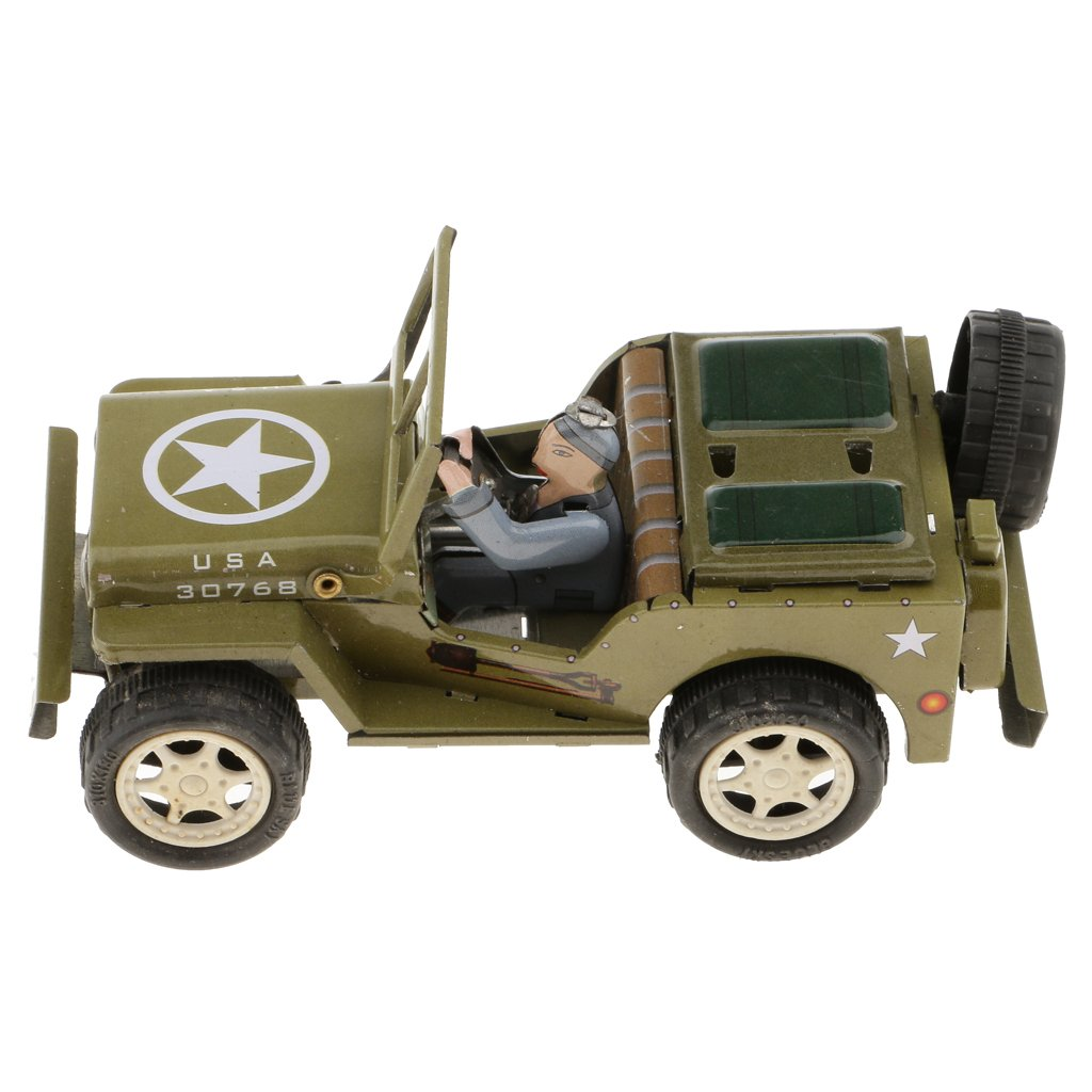 MonkeyJack Vintage Style Wind Up Army Green Jeep Tin Toys Collectible Gift for Kids Adults