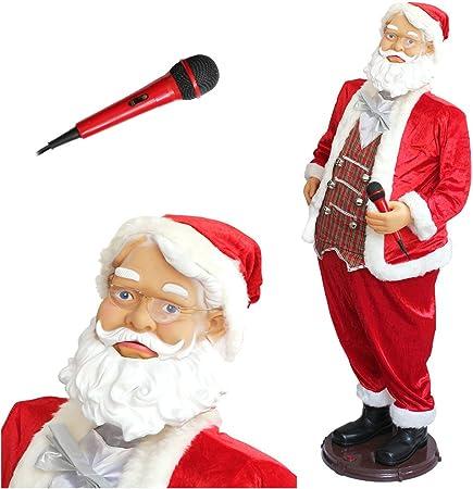 Babbo Natale 40 Cm.Lux Pro Babbo Natale Karaoke Che Canta E Balla 150 X 70 X 40 Cm Con Microfono E Alimentatore Amazon It Casa E Cucina