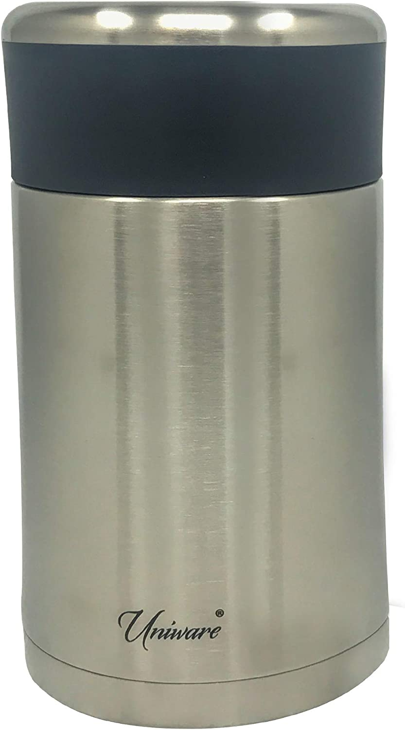Uniware 18/8 Double Wall Stainless Steel Vacuum Insulated Food Container with Food Grade Plastic Container with Lid and Foldable Spoon- Hot or Cold Thermos Flask Canister with Leakproof Lid