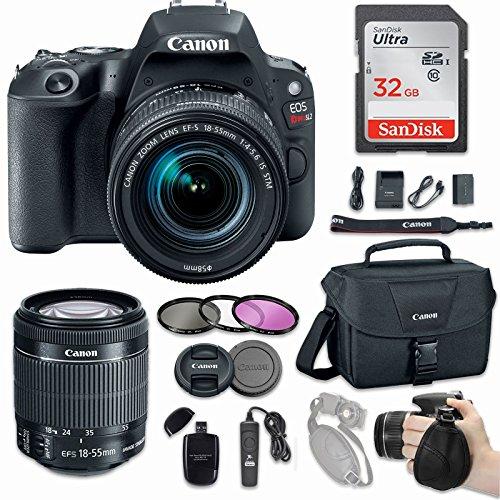 Canon EOS Rebel SL2 DSLR Camera with EF-S 18-55mm f/4-5.6 IS STM Lens + Sandisk 32GB SDHC card + Canon Bag Case + 3 Pc. UV CPL FLD Filter Kit