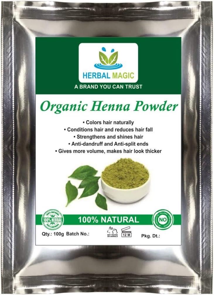 100% Pure & Natural orgánico certificado por ecocert-500g orgánico Henna Polvo – Natural Pelo dye-only por hierbas Magic- USDA/Halal/GMP Cert