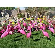 12 Plastic Pink Flamingos