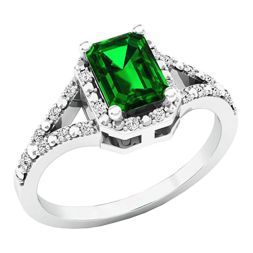 Sterling Silver 7X5 MM Emerald Cut Lab Created Emerald & Diamond Ladies Engagement Ring (Size 8.5)