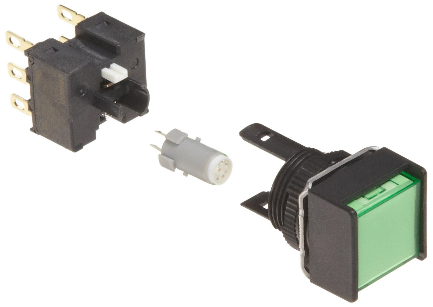 Omron A165L-AGM-24D-2 Two Way Guard Type Pushbutton and Switch, Solder Terminal, IP65 Oil-Resistant, 16mm Mounting Aperture, LED Lighted, Momentary Operation, Square, Green, 24 VDC Rated Voltage, Double Pole Double Throw Contacts