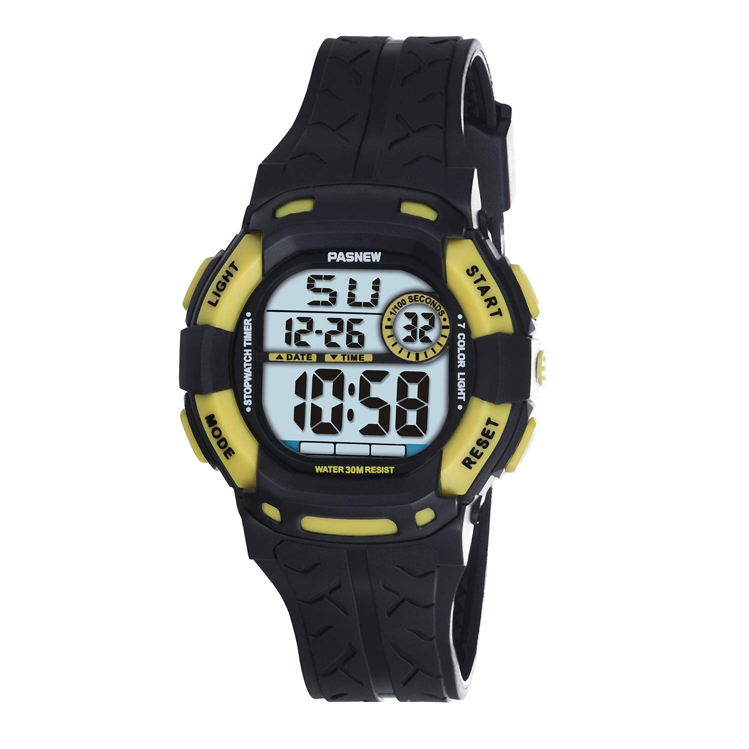 PASNEW Kids Watches Waterproof 100FT Digital Sports Wristwatch with 7-Color Flashing LED Light Alarm Stopwatch Chime Date Day Black Yellow