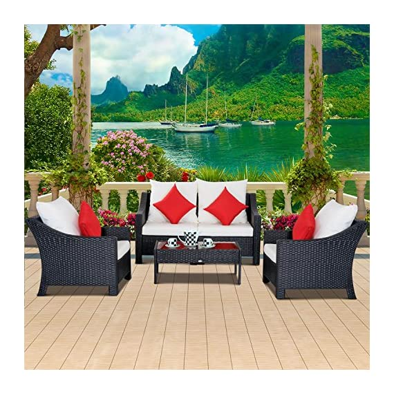 "Outsunny 4 Piece Outdoor Patio Rattan Wicker Cushioned Loveseat and Chair Set - ✅5 PIECE OUTDOOR BISTRO SET: This sleek, contemporary bistro set includes 2 single cushioned sofa chairs, 2 single armchairs and 1 tempered glass top coffee table which is sure to complement any patio setting. ✅COMPACT DESIGN: The compact and lightweight design make this piece perfect for small spaces, such as sunrooms, porches and apartment balconies. ✅CUSHIONED COMFORT: This set is equipped with 4"" thick back and seat cushions for comfort and support with removable water-resistant covers for easy washing. 4 Throw pillows included for added comfort. - patio-furniture, patio, conversation-sets - 61 Z2aWHlPL. SS570  -"